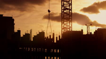 construtor : Silhouette of tower crane working on construction site elevate cement mixer, constructors working on residential building sunny evening, golden hour, warm cloudy sky