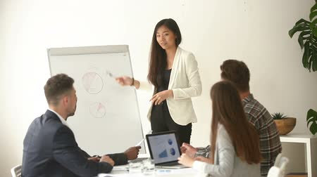 lider : Young asian businesswoman standing near whiteboard in boardroom discussing presentation with multiracial businesspeople, teaching coach answering questions asked by audience during business seminar Stok Video