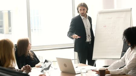 előléptetés : Confident businessman giving drawing presentation on flipchart to colleagues in boardroom, executive manager showing explaining new company strategy, business coach training employees in office Stock mozgókép