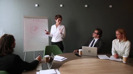 resultaat : Female coach speaking giving presentation talking at executive group board meeting corporate training, businesswoman leader presenter speaker ceo explaining team goal drawing on whiteboard in office Stockvideo