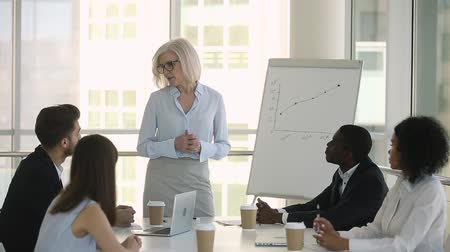 mentor : Mature team leader chief manager coach having business discussion leading corporate group formal meeting for diverse employees speaking about project goals or work results talking at office briefing. Stock Footage