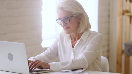 utilidade : Old middle aged businesswoman working with laptop and papers, busy senior mature woman paying bills online banking managing finances checking budget doing paperwork using computer sitting at desk