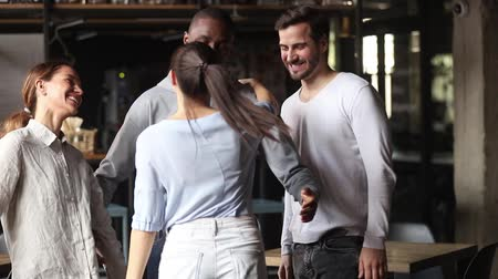 mates : Excited multiracial friends greeting hugging female mate at reunion in cafe, happy diverse young students group embracing say hello welcome girl coming at meeting, multicultural friendship concept