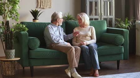 compreensão : Senior older family couple having trust conversation sitting on sofa at home, understanding mature aged gray haired spouses man and woman enjoying talking listening to partner on couch in living room