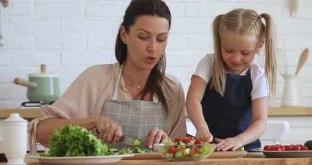 den matek : Young mother teaching explaining cute kid daughter learning cooking hold knife cut fresh vegetable salad in kitchen, happy family little child girl helping mom prepare healthy food together at home