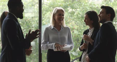 engaged : Cheerful happy friendly old middle aged and young multiracial colleagues business people team executives group joking laughing having fun humor funny conversation standing together in modern office Stock Footage