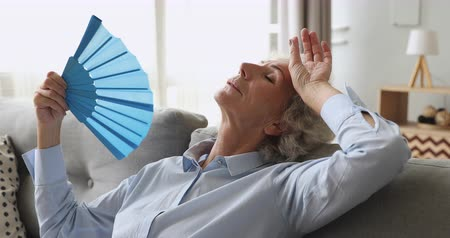 perspiring : Overheated exhausted old woman feel hot wave fan annoyed with high temperature sit on sofa, tired senior grandma sweating suffer from climax summer heat problem, no air conditioner at home concept