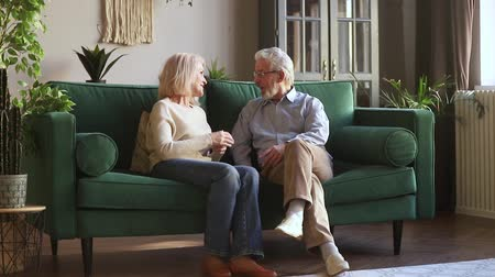 compreensão : European attractive elderly couple old family wife and husband sitting on couch in cozy light living room having pleasant warm conversation talking share memories spend time together at home concept Stock Footage