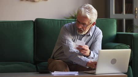 cheque : Elderly man sit on couch manages personal budget using calculator calculates expenses spending check bills receipts type in laptop apps data digits, financial plan, savings and debt repayment concept