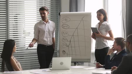 escritórios : Asian caucasian executive representatives standing in front company clients or investors make presentation use flip chart showing positive forecast sales growth on chart gathered together in boardroom