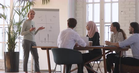 muslim leader : Smiling mature older businesswoman coach teaching multicultural workers on flip chart explaining corporate strategy, middle aged female mentor trainer leading presentation at conference training