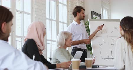 muslim leader : Young man business coach conference trainer speak during corporate lecture seminar give flip chart presentation at office training teaching employees group consulting clients explaining strategy plan Stock Footage