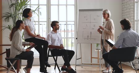 escritórios : Old mature female mentor manager business trainer coach teaching diverse employees group with flip chart explaining marketing project analyzing financial results give presentation at office training. Stock Footage