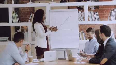 lavagna bianca : Female black manager coach explain graph to diverse employees group give flip chart presentation at office meeting, african business woman speaker teaching team at corporate training in boardroom