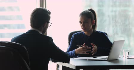 прокат : Female employer manager insurer make financial insurance collaboration deal with male client handshake customer hiring job candidate at business meeting interview, gender equality partnership concept Стоковые видеозаписи