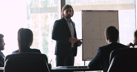 rotafolio : Serious confident businessman coach speaker wearing suit presenting financial strategy on flip chart, male business trainer training executive team at conference seminar meeting company workshop Archivo de Video