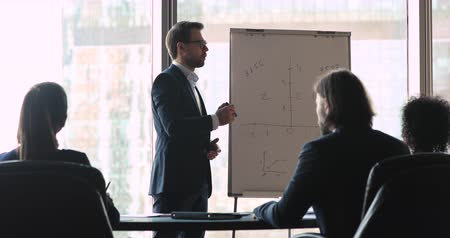 briefing : Male professional seminar speaker business trainer executive explain financial result demonstrate investment plan to investors give flip chart presentation lecture training staff at corporate meeting Stock Footage
