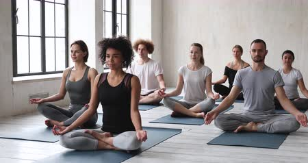 zen como : Multi-ethnic girls guys in comfy activewear sit in lotus pose do meditation practice, work out in sport club together with like-minded people, awaken energy, quiet mind, improve inner calmness concept