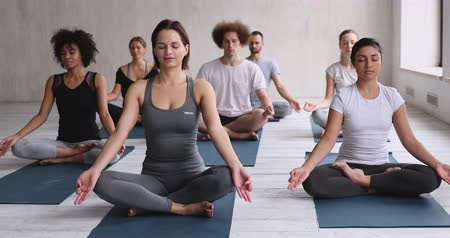 en tête : Group of attractive millennial different ethnicity girls and guys seated cross-legged on carpets closed eyes meditating visualizing during yoga session in sport club studio. Spiritual practice concept