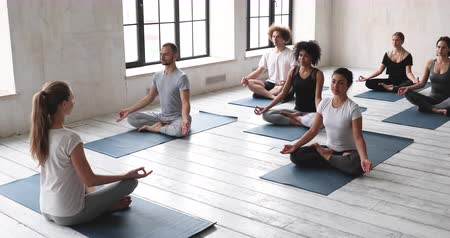 restorative : Multi-ethnic people gathered together practicing yoga in sport club studio session led by caucasian woman trainer teach girls guys share knowledge seated on mats in lotus pose preparing for meditation