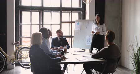 тренер : Confident female manager coach speaker give business presentation on whiteboard talk to diverse executives clients presenting project plan explain financial result at group office boardroom training