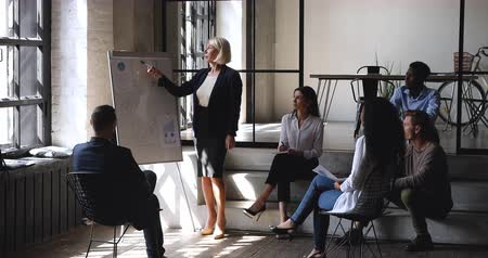 koers : Confident female middle aged mature older business coach conference speaker manager give flip chart presentation at office meeting explain work plan teach diverse team at corporate workshop training