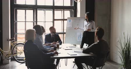 speaker : Female coach corporate leader conference speaker having business discussion with partners give flip chart presentation teaching diverse executive team speaking at company group workshop training