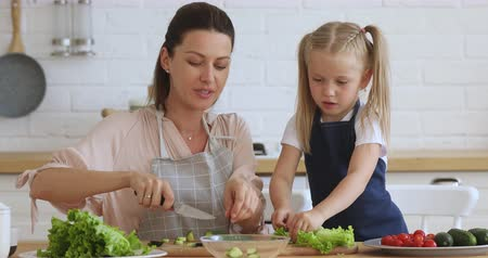 saŁata : Little girl helping young mommy chopping fresh lettuce vegetables for salad. Happy 30s woman teaching small daughter preparing healthy vegan food. Bonding family enjoying cooking process together.