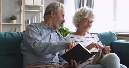 dialog : Happy senior grandparents couple relaxing talking enjoying leisure hobbies together at home, elderly husband grandpa reading book while older wife grandma knitting sitting on couch in living room Wideo