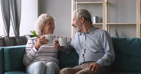 dialog : Smiling elderly woman embracing happy middle aged husband, enjoying free weekend time, drinking hot coffee tea together at home. Loving old family couple talking speaking relaxing on cozy sofa.
