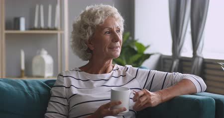 sedmdesátá léta : Head shot smiling dreamy middle aged hoary woman holding cup of hot coffee tea, relaxing on comfortable couch at home. Pleasant happy mature elderly grandmother enjoying calm good morning rest time.