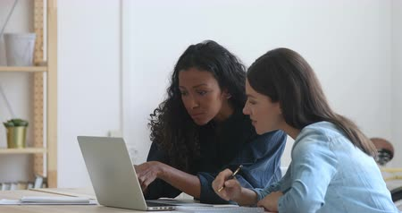 resultaat : Concentrated multiracial female employees looking attentively at computer screen, discussing corporate software at office. Motivated mixed race businesswomen working on project together at workplace. Stockvideo