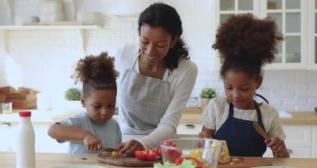 etnia africano : Happy attractive young african american mom in apron teaching little kids siblings cutting fresh vegetables for vegetarian food. Smiling family of three preparing food together at modern kitchen.