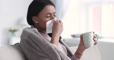 плед : Ill sick young african american woman covered with warm blanket sneezing in tissue blowing running nose got flu virus caught cold drinking hot tea at home, respiratory infections disease concept Стоковые видеозаписи