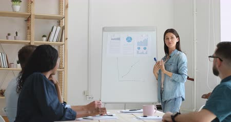 alto falante : Motivated mixed race business people listening to confident female speaker, explaining strategy near flipchart. Skilled mentor coach trainer conducting educational lecture, showing market statistics. Stock Footage