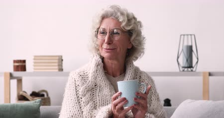 çay : Smiling relaxed old woman wearing glasses looking away at camera drinking tea at home. Happy senior lady covered with warm plaid holding cup sitting on sofa enjoys time in cozy living room. Portrait Stok Video