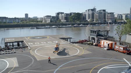 heliport : Helicopter preparing to take off
