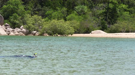 shoreline : A wide shot of a man near the shoreline wearing a black and blue diving gear and a yellow snorkelling mask while he enjoys snorkelling the clear waters of the ocean.