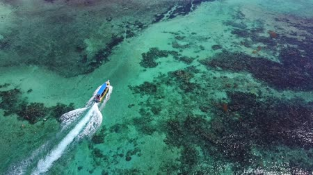Aerial drone shot. View from above of the boat with divers in the distance from a birds eye view. Turquoise water view coral coast of the Caribbean Sea. Riviera Maya Mexico. Vídeos