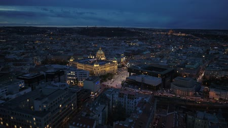 Prague Wenzelsplatz by night drone Stok Video