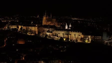 Prague Castle fortress 4k aerial drone by night Stok Video