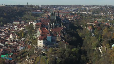prague bridge : Prague drone Aerial Prague Castle.