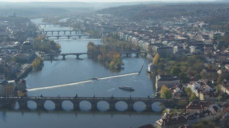 Panoramic aerial view of Prague and Charles Bridge Stok Video