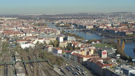 vertically : Panoramic aerial view of Prague and Charles Bridge Stock Footage