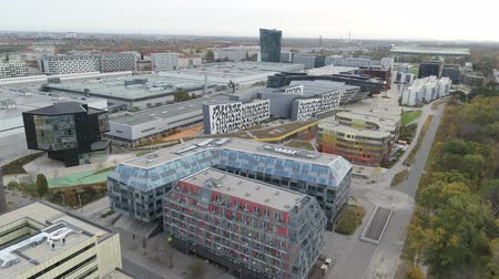 hırvat : Vienna drone aerial Modern city and green nature Stok Video