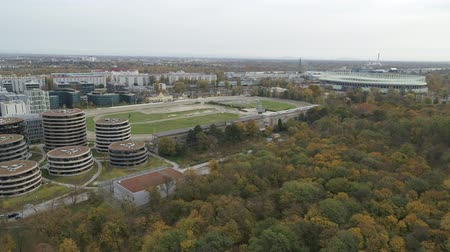 visitantes : Vienna drone aerial Modern city and green nature Archivo de Video