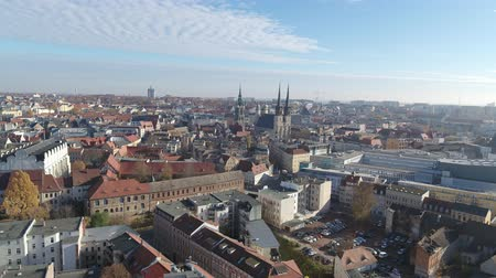 Aerial view of Halle Saale Old Town Stok Video