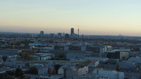 visto : drone aerial vienna skyline at sunset. golden hour blue hour