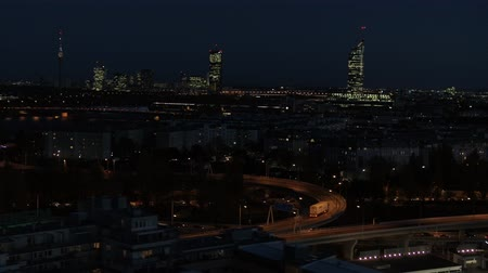 drone aerial vienna city night scene