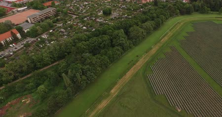 Horse Race Pferderennbahn Aerial Drone 4k following horses in Curve Stok Video